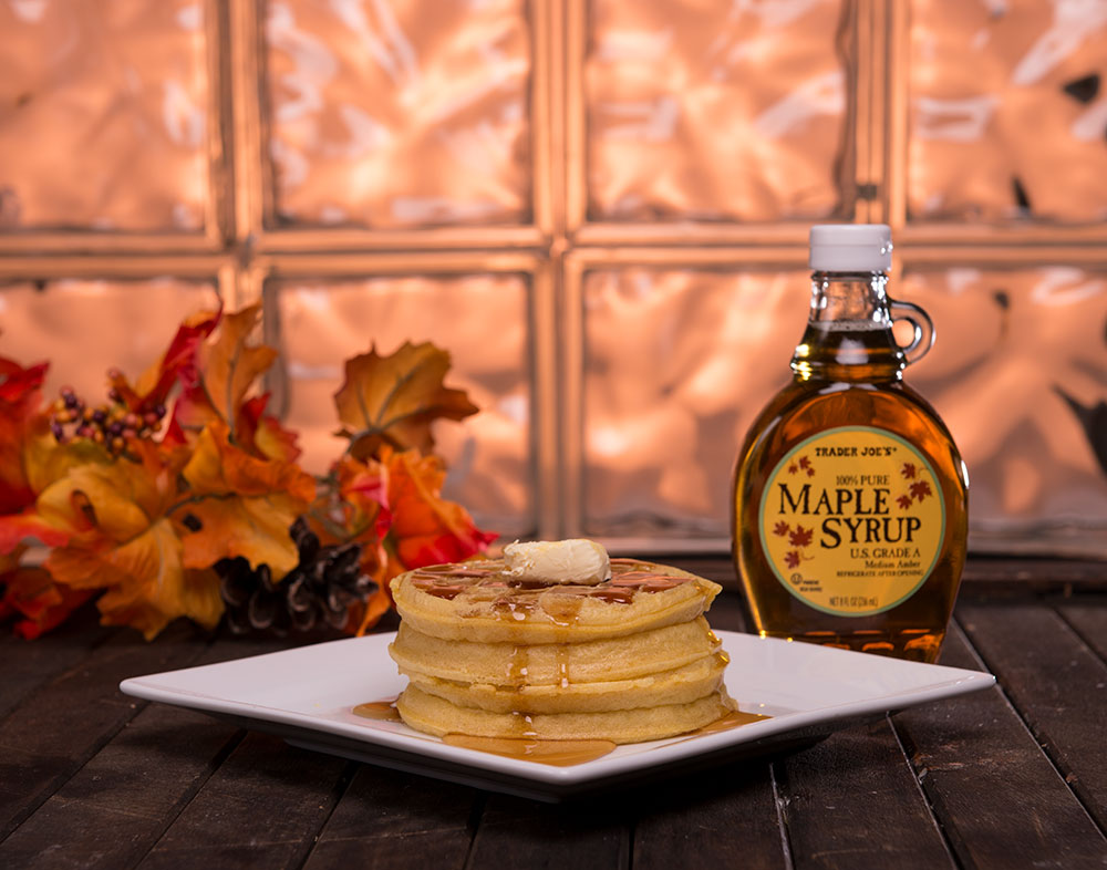 Delicious Warm Waffles With Maple Syrup Photographed In Fall