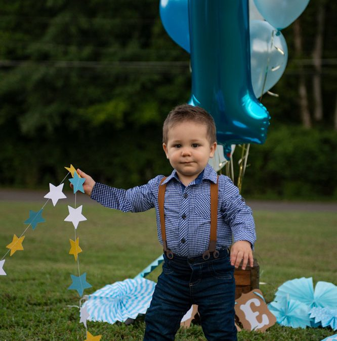 Popping First Birthday Excited Handsome Adorable Baby Boy